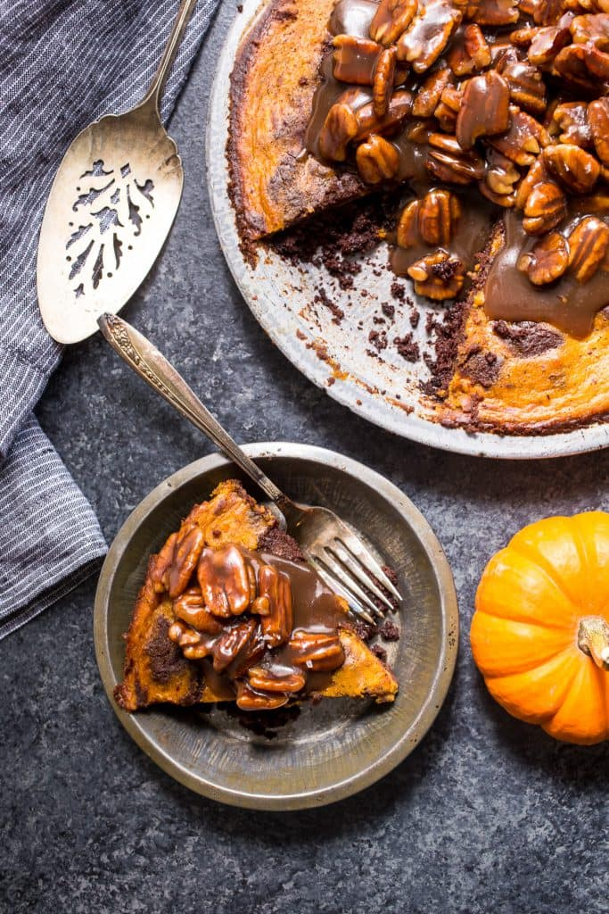 Bourbon Brownie Pumpkin Pie | girlinthelittleredkitchen.com