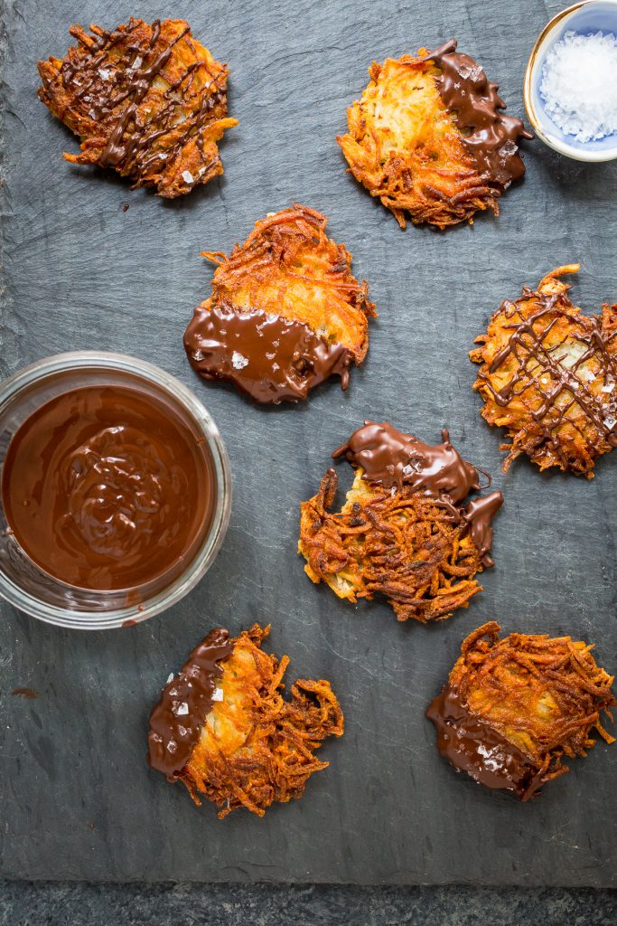 Chocolate Covered Latkes | girlinthelittleredkitchen.com
