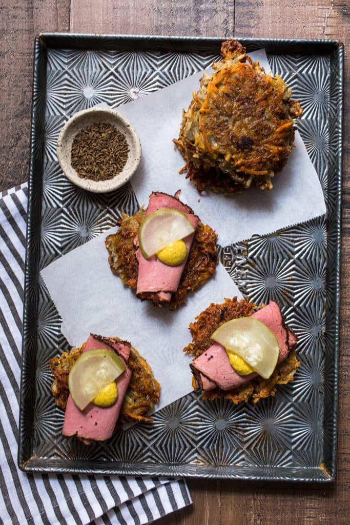 Pastrami on Rye Latkes | girlinthelittleredkitchen.com