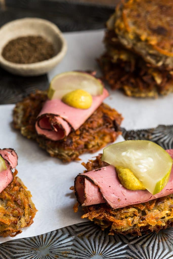Pastrami on Rye Latkes | girlnthelittleredkitchen.com