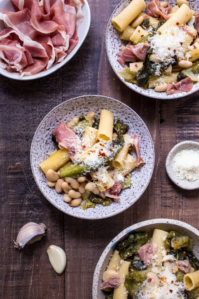Rigatoni with Braised Escarole, White Beans and Prosciutto | girlinthelittleredkitchen.com