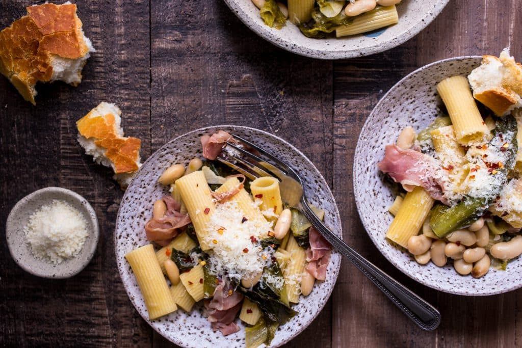 Rigatoni with Escarole, White Beans and Prosciutto | girlinthelittleredkitchen.com