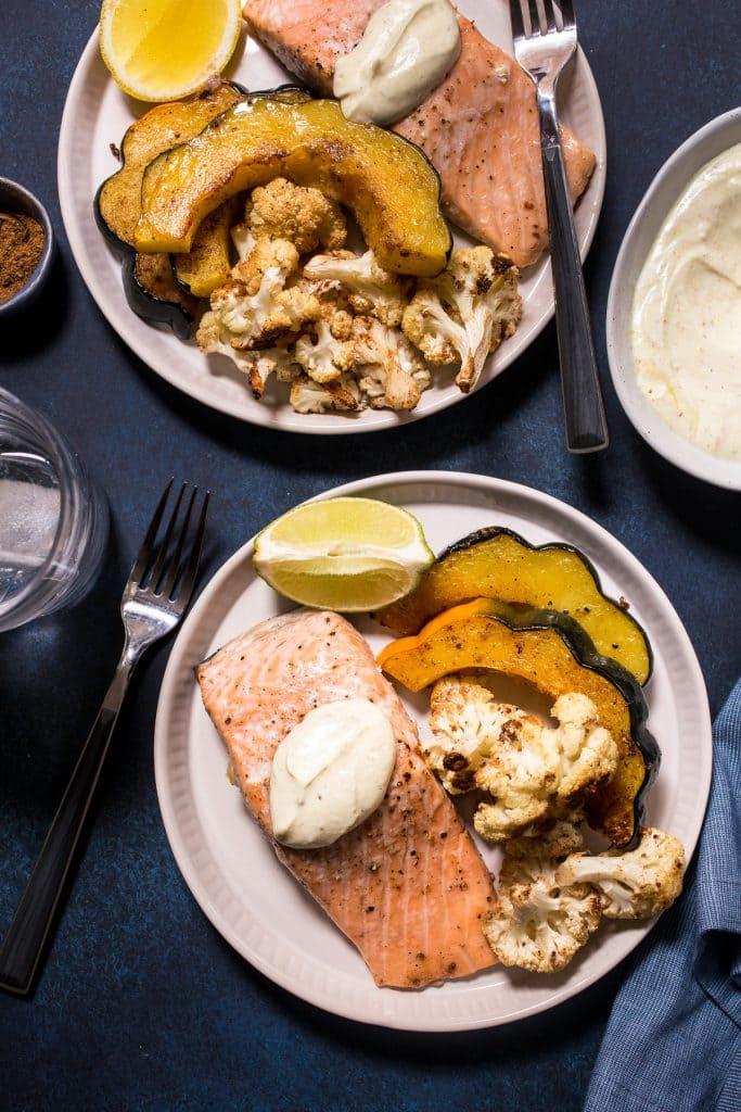 Sheet Pan Salmon with Garam Masala Squash and Cauliflower | girlinthelittleredkitchen.com