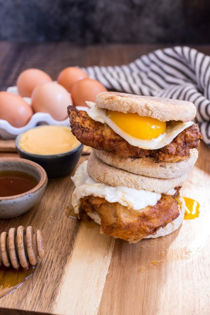Chicken and Egg Sandwich with Hot Honey Butter | girlinthelittleredkitchen.com