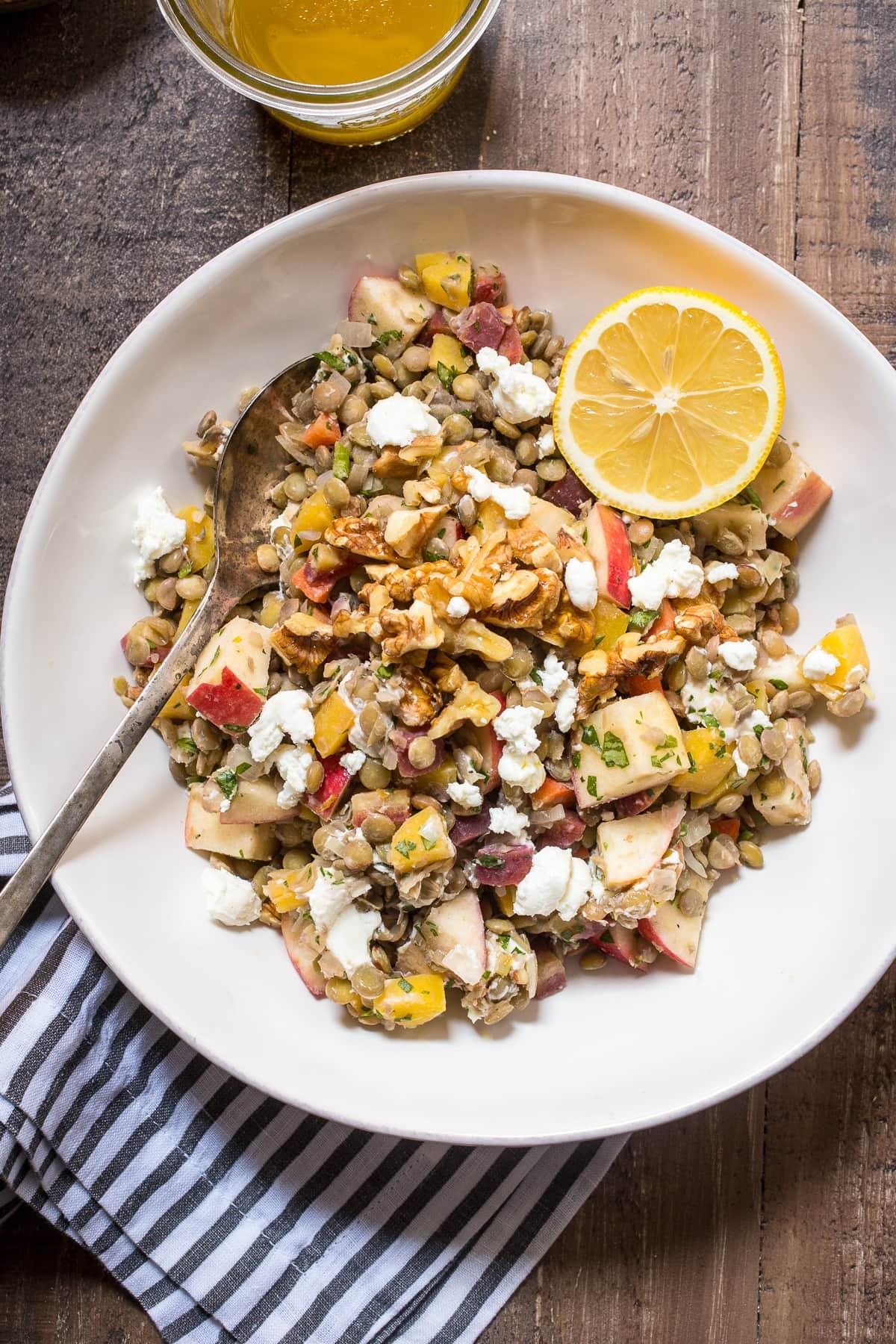 Warm Lentil Salad with Lemon Vanilla Vinaigrette | Girl In The Little ...
