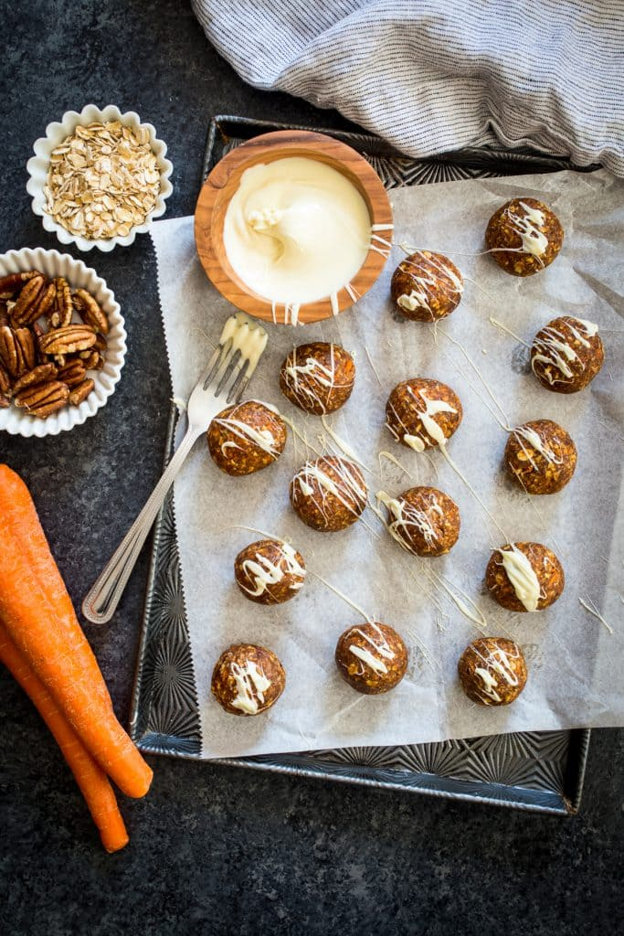 Carrot Cake Energy Bites | girlinthelittleredkitchen.com