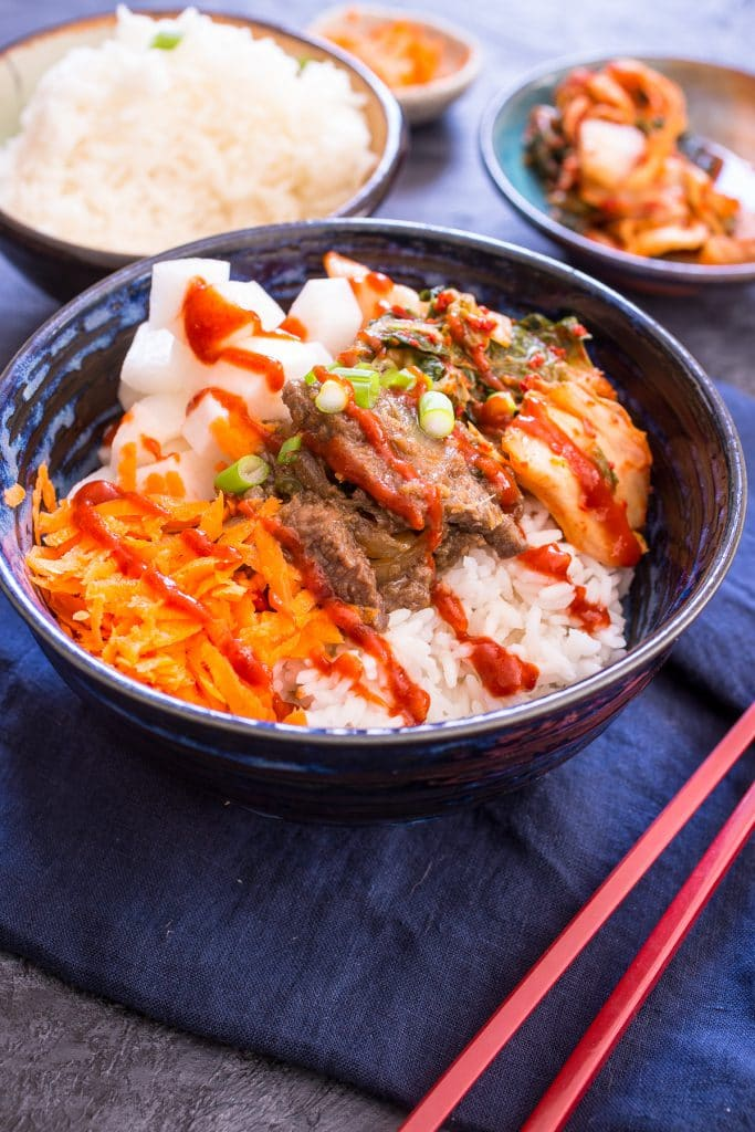 Korean BBQ Rice Bowl | girlinthelittleredkitchen.com