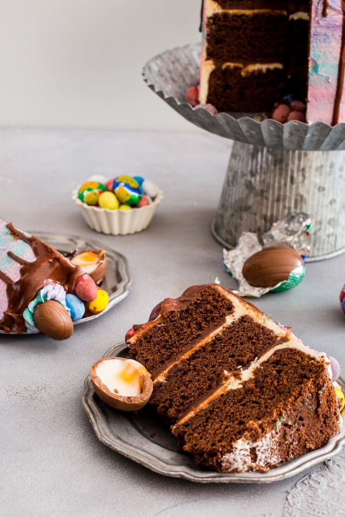Cadbury Mini Egg Layer Cake | girlinthelittleredkitchen.com