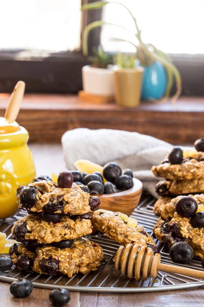 Honey Ginger & Blueberry Breakfast Cookies | girlinthelittleredkitchen.com