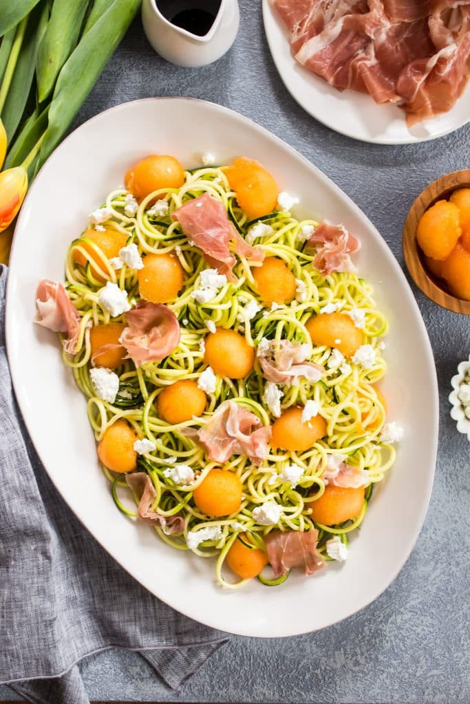 Prosciutto and Melon Zucchini Noodle Salad | girlinthelittleredkitchen.com