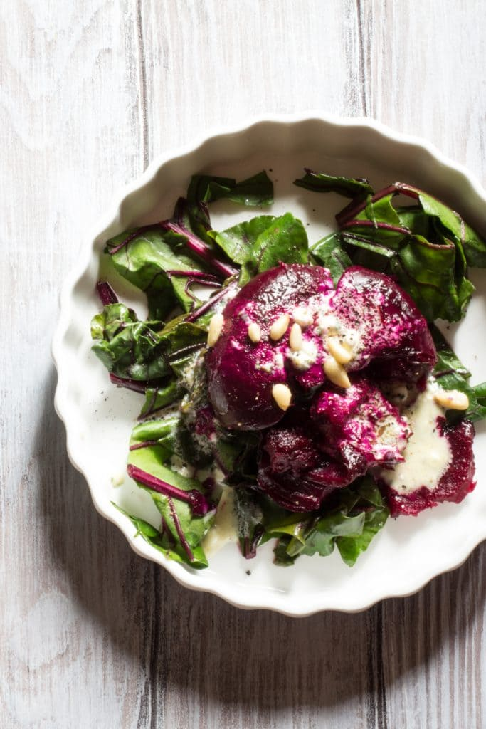 SMASHED ROASTED BEETS WITH GOAT CHEESE DRESSING | The Wimpy Vegetarian