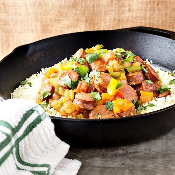 LOW-CARB CAJUN STYLE SAUSAGE AND CAULIFLOWER RICE | PASTRY CHEF ONLINE