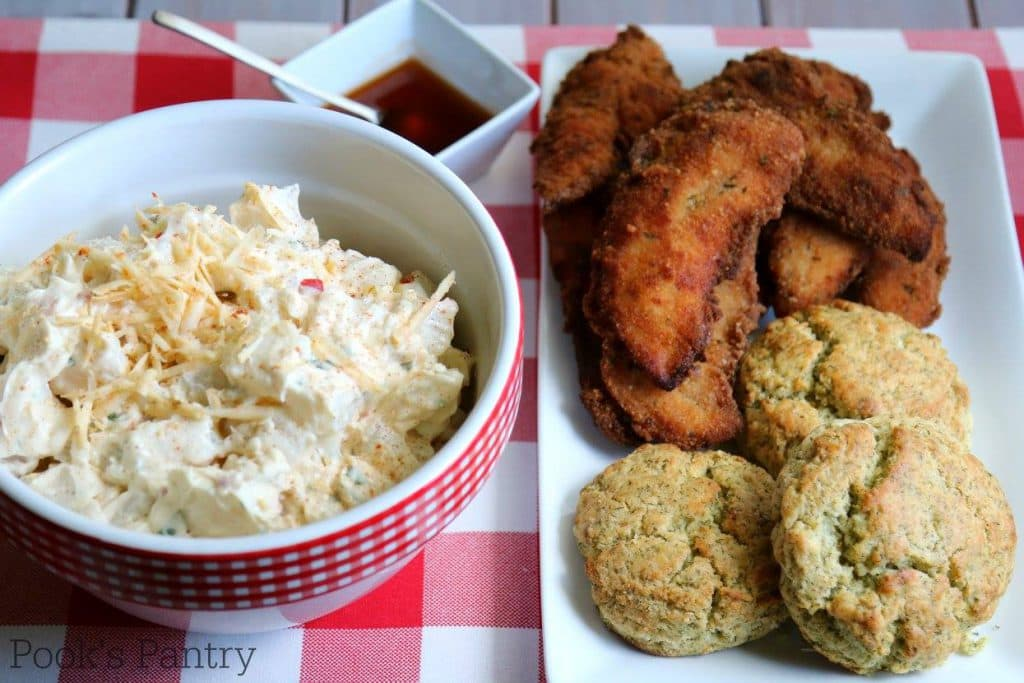 PIMENTO CHEESE POTATO SALAD WITH CHICKEN TENDERS & BISCUITS | POOK'S PANTRY