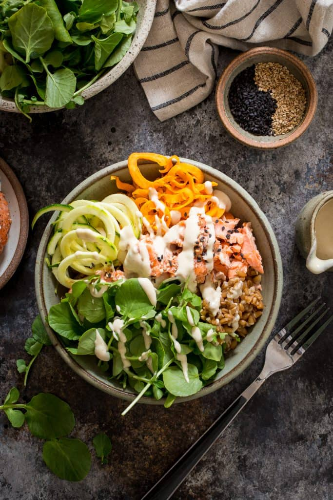 Salmon and Watercress Grain Bowls with Sweet Potatoes and Zucchini Noodles | girlinthelittleredkitchen.com