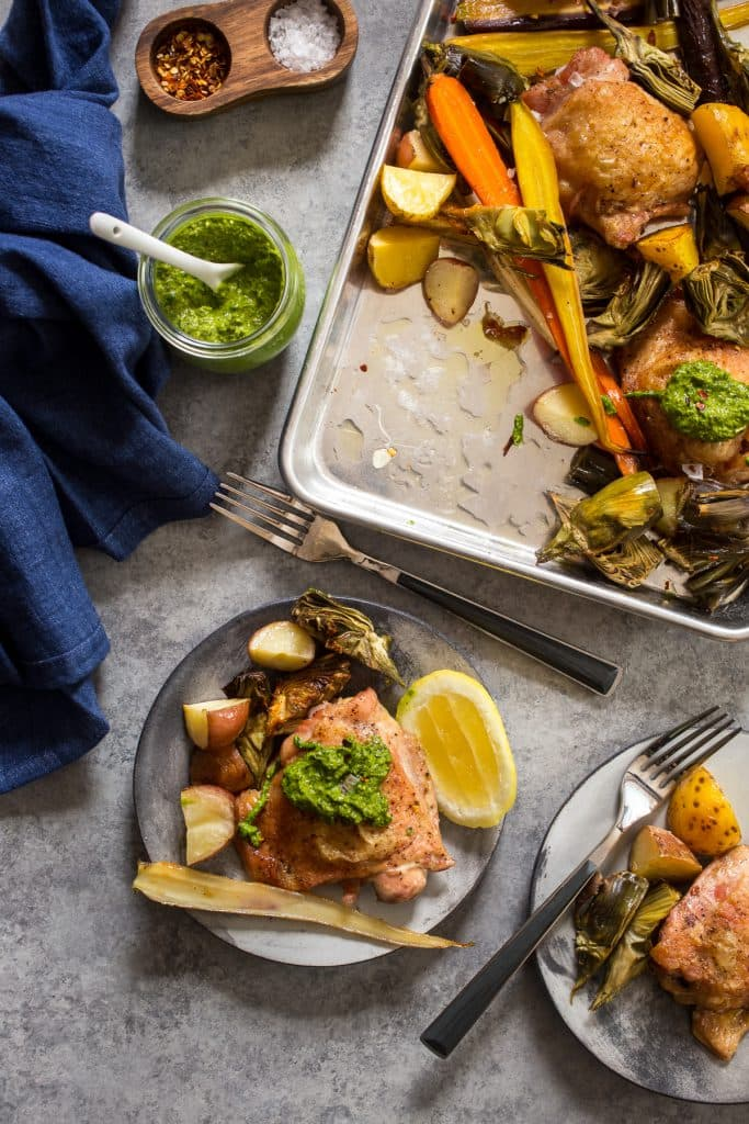 Sheet Pan Chicken Thighs with Baby Artichokes | girlinthelittleredkitchen.com
