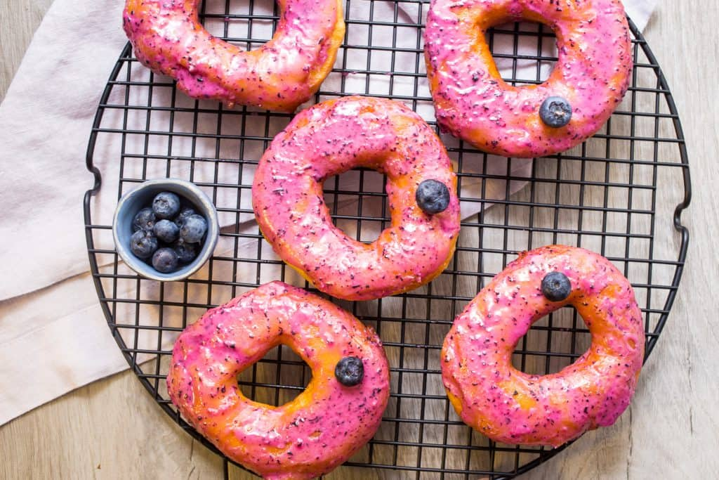 Blueberry Bourbon Brioche Doughnuts | girlinthelittleredkitchen.com
