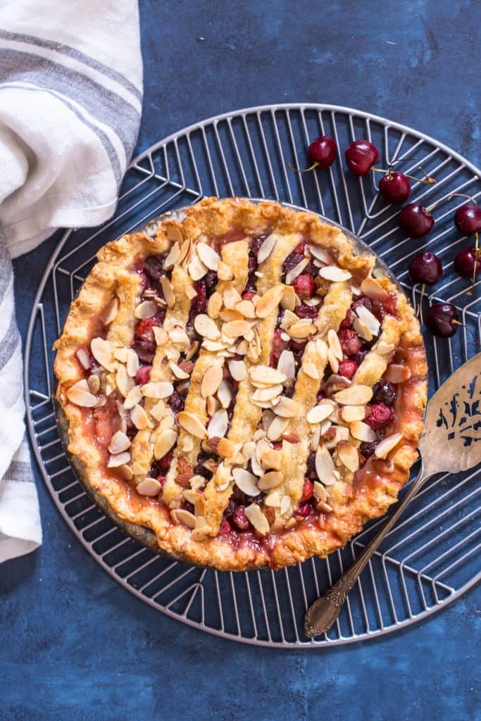 Cherry Almond Pie | girlinthelittleredkitchen.com