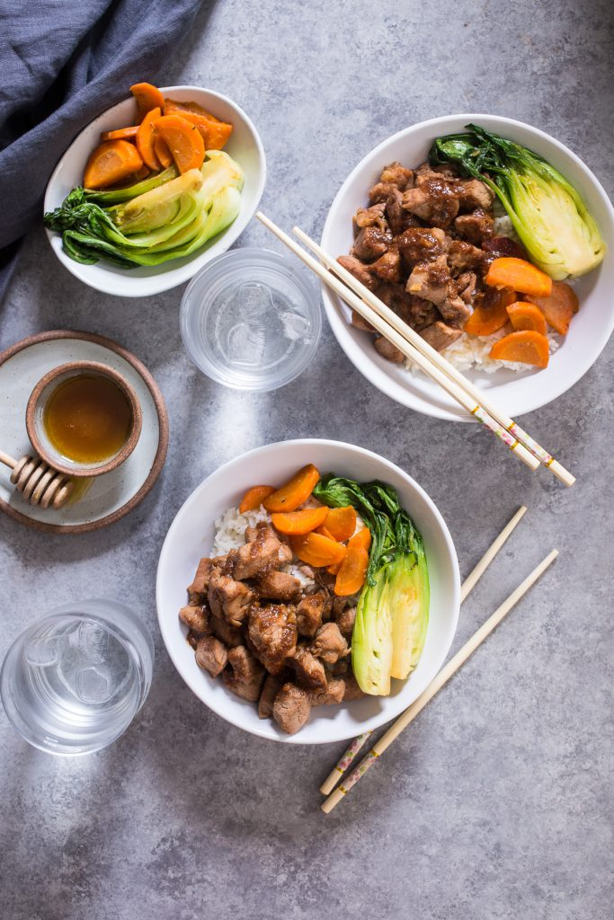 Asian Rice Bowls with Honey Soy Pork Tenderloin | girlinthelittleredkitchen.com