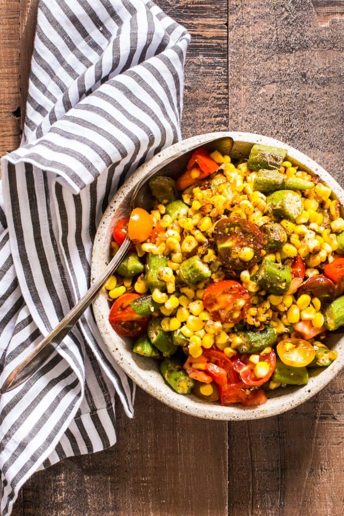 Okra, Corn and Tomato Salad | girlinthelittleredkitchen.com
