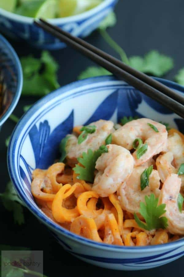 Thai Red Curry Coconut Shrimp & Sweet Potato Noodles | Pook's Pantry