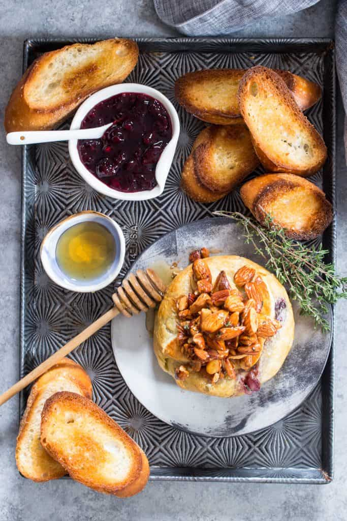Baked Brie en Croute with Cherries | girlinthelittleredkitchen.com