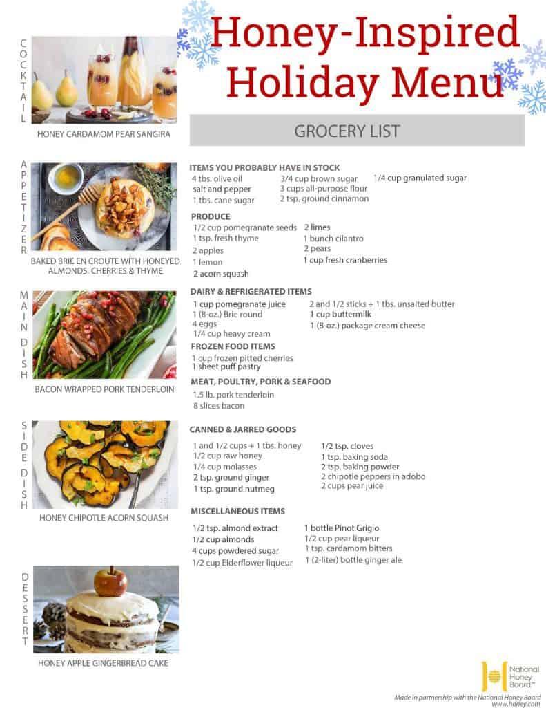 Honey Inspired Holiday Menu