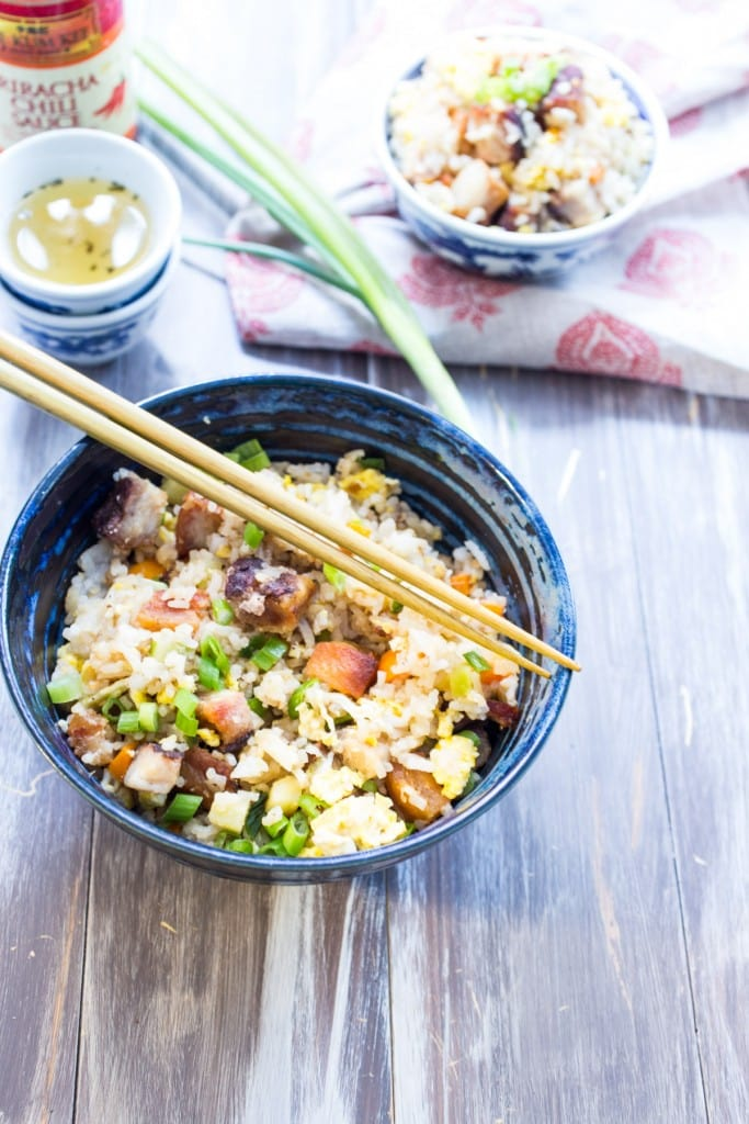 Pork Belly Fried Rice  | girlinthelittleredkitchen.com