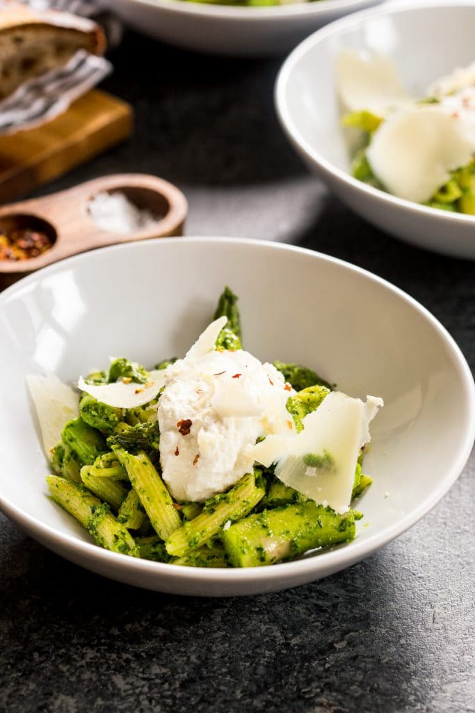 Pasta with Asparagus and Ramp Pesto | girlinthelittleredkitchen.com