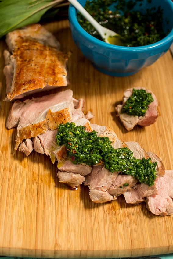 Pork Tenderloin with Ramp Chimichurri from The Girl In The Little Red Kitchen