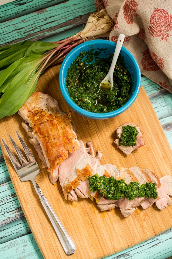Pork Tenderloin with Ramp Chimichurri | girlinthelittleredkitchen.com