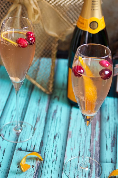 Cranberry Orange Champagne Cocktail | The Girl In The Little Red Kitchen