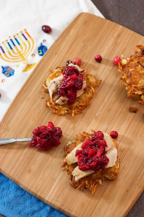 Potato Latkes with Turkey and Cranberry Chutney | The Girl In The Little Red Kitchen