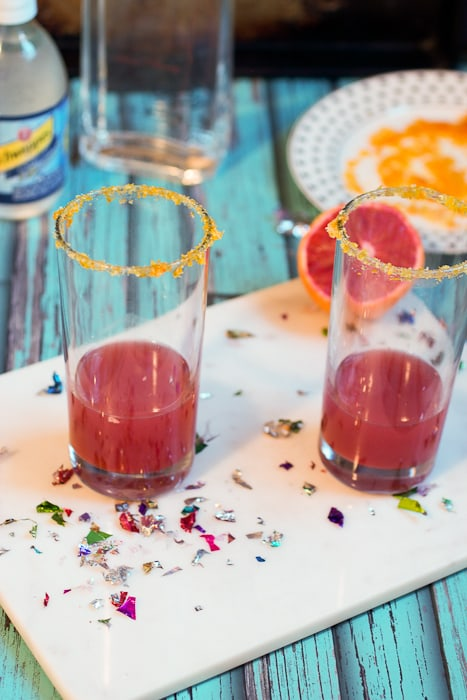 Blood Orange Gin Fizz - a great seasonal fizzy cocktail from The Girl In The Little Red Kitchen