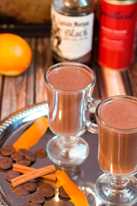 Orange Cinnamon Spiked Hot Chocolate a citrus spiced rum spiked chocolate drink from The Girl In The Little Red Kitchen