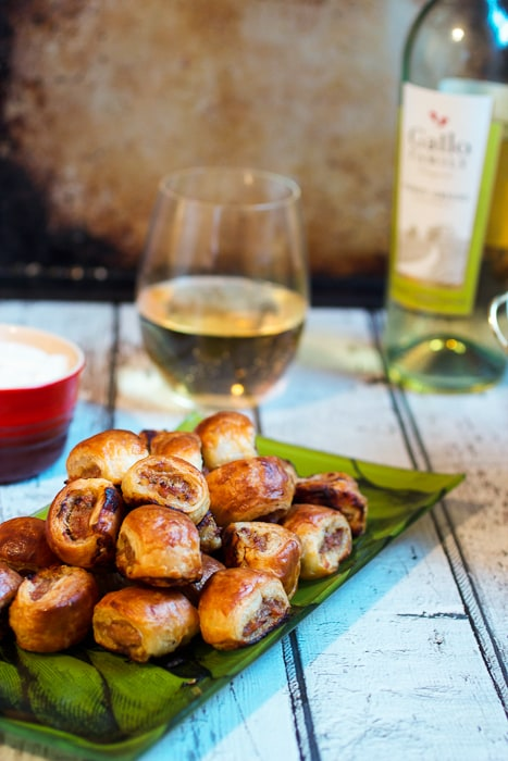 Spicy Sausage Rolls paired with Gallo Family Wine for the Big Game from The Girl In The Little Red Kitchen