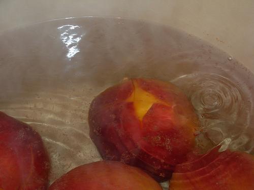 peeling peach skins