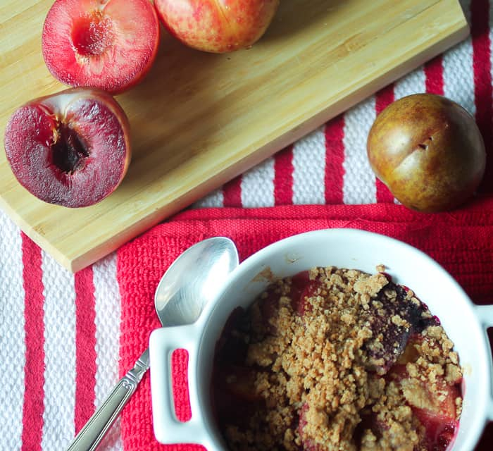Peach and Pluot Biscoff Crisp from The Girl In The Little Red Kitchen