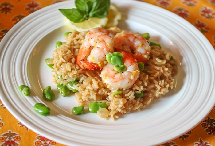Lemon Risotto with fava beans and shrimp - 1