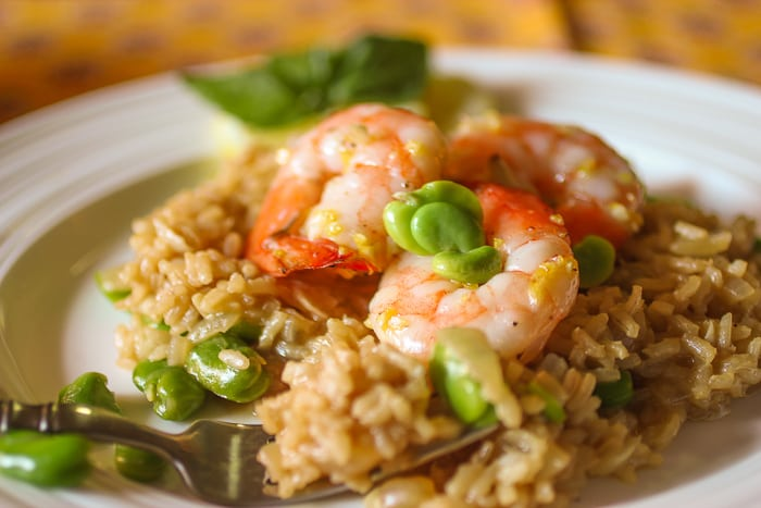 Lemon Risotto with fava beans and shrimp - 2