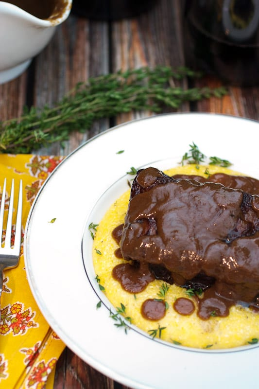 Red Wine Braised Short Ribs using Gallo Family Vineyard Hearty Burgundy from The Girl In The Little Red Kitchen