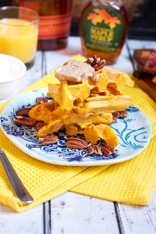 Sweet Potato Cornmeal Waffles with Bourbon Cream and Pecan Butter from The Girl In The Little Red Kitchen