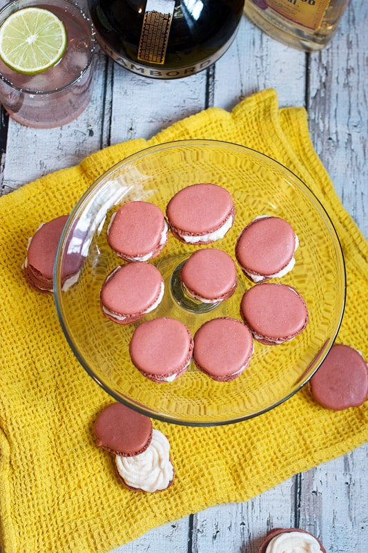 Chambord Margarita Macarons to celebrate National Margarita Day from The Girl In The Little Red Kitchen