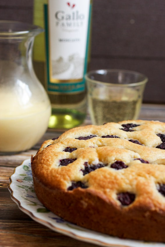 Blackberry Almond Cake with Moscato Zabaione from The Girl In The Little Red KItchen