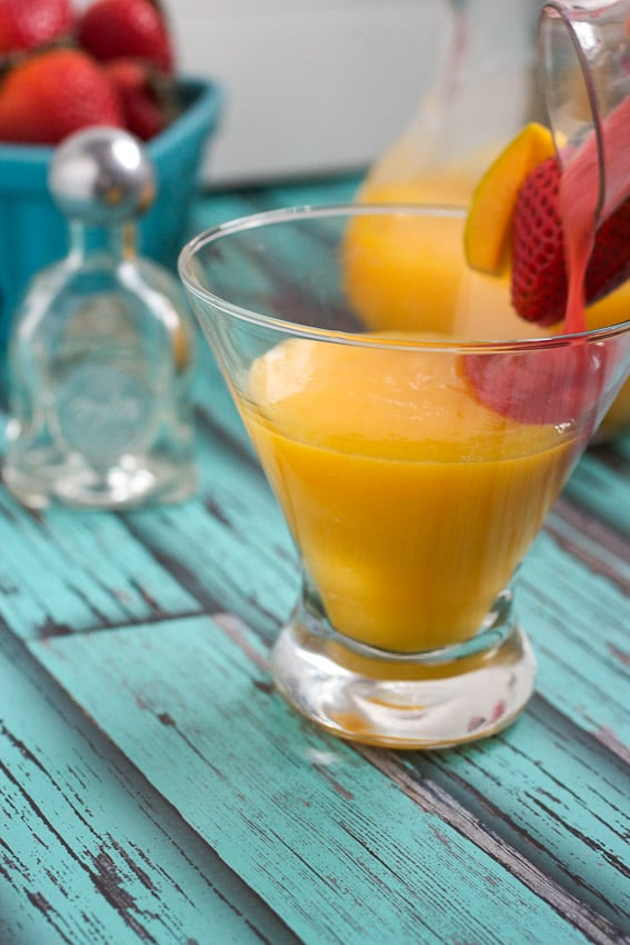Strawberry Mango Tequila Sunrise from The Girl In The Little Red Kitchen
