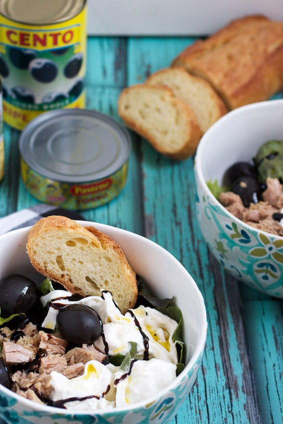 Tuna, Burrata and Black Olive Salad from The Girl In The Little Red Kitchen