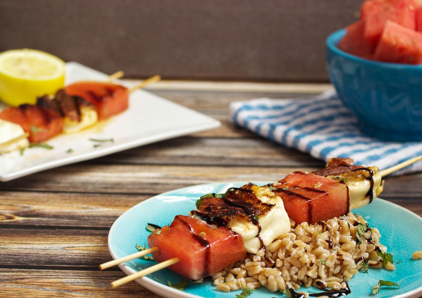 Grilled Watermelon and Halloumi Farro Salad from The Girl In The Little Red Kitchen