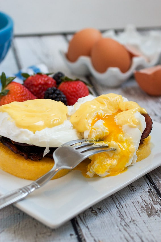 Polenta Cake Eggs Benedict from The Girl In The Little Red Kitchen