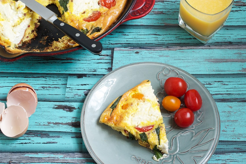 Ricotta, Tomato and Ramp Frittata from The Girl In The Little Red Kitchen