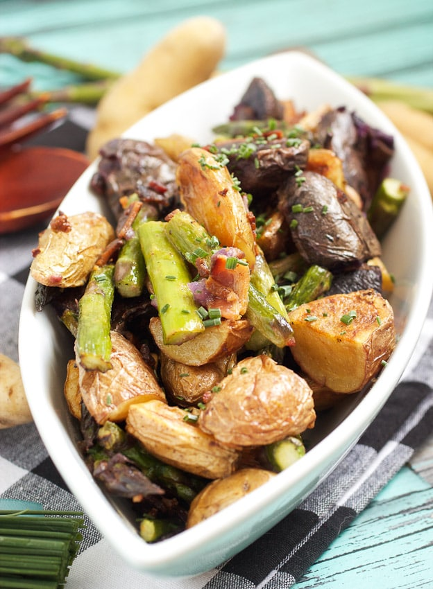 Roasted Fingerling and Asparagus Potato Salad from The Girl In The Little Red Kitchen