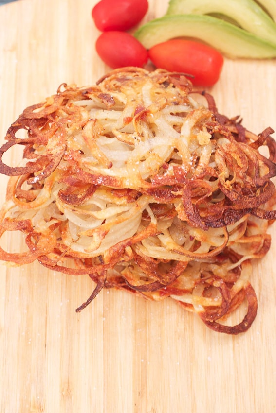 Bacon and Cheese Hash Brown Nests from The Girl In The Little Red Kitchen